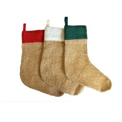 6 Calcetines yute Navidad - rojo