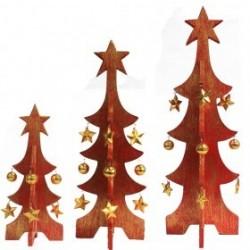 Pack 3 árboles Navidad oro decapado - rojo