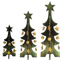 Pack 3 árboles Navidad oro decapado - verde