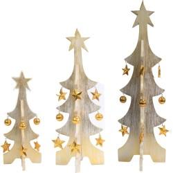 Pack 3 árboles Navidad oro decapado - blanco