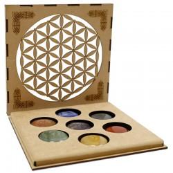 Juego piedras 7 chakras caja - flor de la vida
