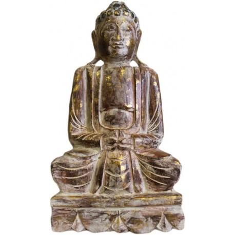 Estatua Buda madera tallada 50cm - blanca