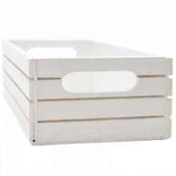 Caja madera blanca líneas 20x13x7cm