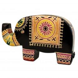 Hucha cuero - elefante negro