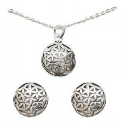 Set collar y pendientes plata - Flor de la vida