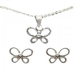 Set collar y pendientes plata - Mariposa