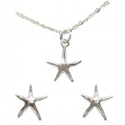 Set collar y pendientes plata - Estrella mar