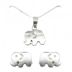 Set collar y pendientes plata - Elefante
