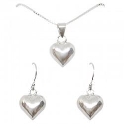 Set collar y pendientes plata - Corazón