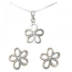 Set collar y pendientes plata - Flor