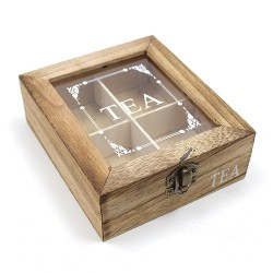 Caja madera para tés (4 departamentos)