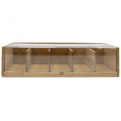 Caja madera lineal para tés (5 departamentos)