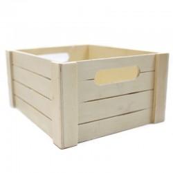 Caja madera natural listones 22x19x11cm