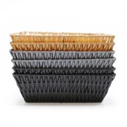 6 Cestas plástico rectangular 24x18x8cm - surtidas