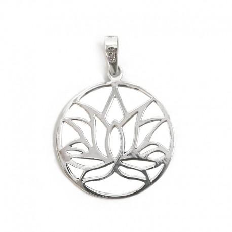 Colgante plata - liso flor de loto
