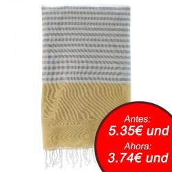 Fouta con toalla 90x180cm - amarillo y gris