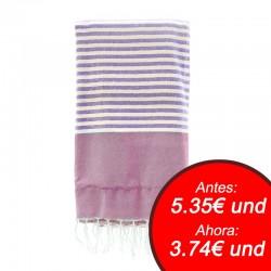 Fouta con toalla 90x180cm - fucsia y gris