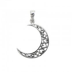 Colgante plata luna corazones