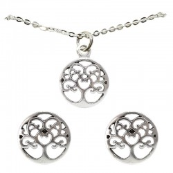 Set collar y pendientes plata - Árbol de la vida