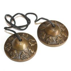 Tingsha mini latón Mazira y símbolos de la suerte
