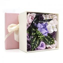 Bouquet flores jabon caja regalo - morado