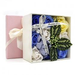 Bouquet flores jabon caja regalo - azul
