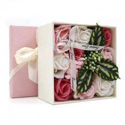 Bouquet flores jabon caja regalo - rosa
