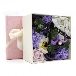 Bouquet flores jabon caja regalo - lavanda