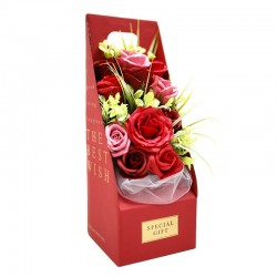 Ramo flores jabón en caja - rojo