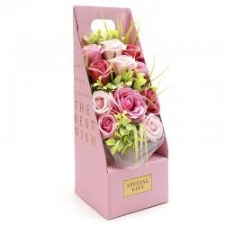 Ramo flores jabón en caja - rosa