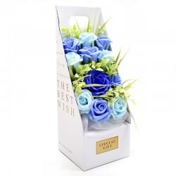Ramo flores jabón en caja - azul