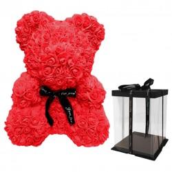 Oso decorativo rosas 25cm - rojo
