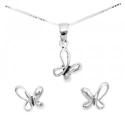 Set collar y pendientes plata - Mariposa asimétrica