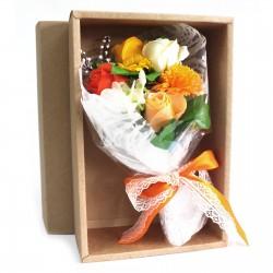 Bouquet flores jabón en caja - naranja