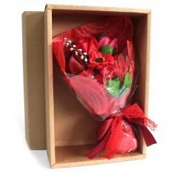 Bouquet flores jabón en caja - rojo