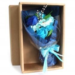 Bouquet flores jabón en caja - azul