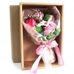Bouquet flores jabón en caja - rosa