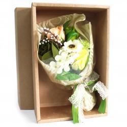 Bouquet flores jabón en caja - verde