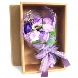 Bouquet flores jabón en caja - púrpura
