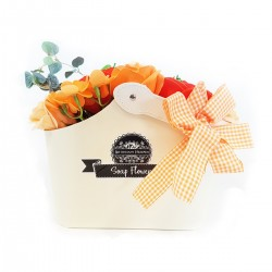 Cesta ramo de flores jabón - naranja