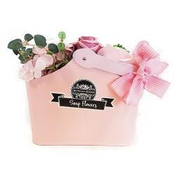 Cesta ramo de flores jabón - rosa