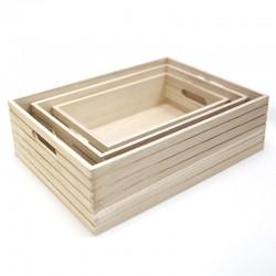 Juego 3 cajas madera natural 40x30x12