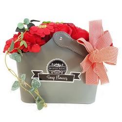 Cesta ramo de flores jabón - roja