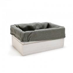Caja madera natural blanca con tela gris 15x10x7cm