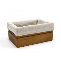 Caja madera caoba con tela blanca 15x10x7cm