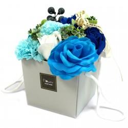 Bouquet flores jabón - rosas azules y clavel