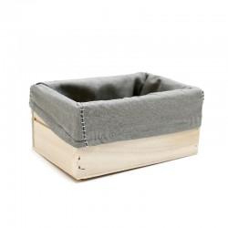 Caja madera natural con tela gris 15x10x7cm
