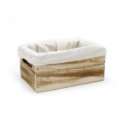 Caja madera natural con tela blanca 15x10x7cm