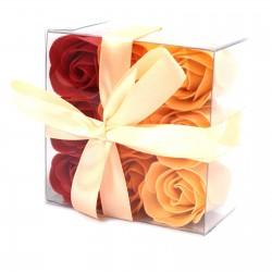 3 Sets 9 flores jabón - rosas melocotón