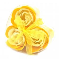 6 Sets 3 flores jabón caja corazón - rosas primavera